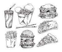 Fast food types icons set. Cheesy pizza and taco, noodles in box and drink in paper glass, hamburger and fried potatoes monochrome promo sketches vector. Fast Food Types Monochrome Icon Promo Set Vector