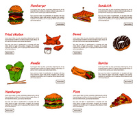 Hamburger and fried chicken served with sauce. Noodles and burrito fast food set. Pizza slice and sandwiches, chocolate donut vector illustration. Hamburger and Fried Chicken Vector Illustration