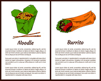 Noodle served with chopsticks and traditional mexican burrito with tomatoes, salad leaves. Asian meals fast food services set vector illustration. Noodle and Mexican Burrito Vector Illustration