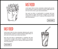 Fastfood poster French fries soft drink in cup. Cold beverage and fried potatoes sticks in package. Monochrome sketches outline vector illustration. Fastfood Poster French Fries Vector Illustration