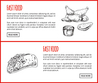 Fastfood chicken and taco. Traditional meal Mexican dish. Fried meat served with sauce poured in bowl. Sandwich takeaway food vector illustration. Fastfood Chicken and Taco Vector Illustration