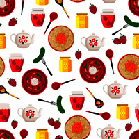 Pickled cucumber on fork and raspberry jam in jar seamless pattern. Borshch Russian dish served in wooden bowl and honey, icons vector illustration. Pickled Cucumber Fork Pattern Vector Illustration