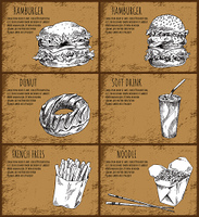 Hamburger and chocolate donut sketches. French fries, Japanese noodles with chopsticks, soft drink in plastic cup with straw, vector illustration. Hamburger and Donut Sketches Vector Illustration