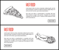 Fastfood pizza and hot dog. Slice of Italian traditional food with cheese and sausages. Monochrome sketches outline and taco, vector illustration. Fastfood Pizza and Hot Dog Vector Illustration