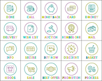 E-commerce and ways of internet purchasing, search and goods basket, profitable offer and discount, safe deal and delivery terms. Icon set e-store.. Minimalistinc Linear Style Icon Set for E-Store