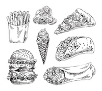 Fast food set hand drawn vector monochrome illustration. Ice-cream and chips, pizza and french fries, double burger, tacos and doner kebab sketches. Fast food set hand drawn vector monochrome sketch