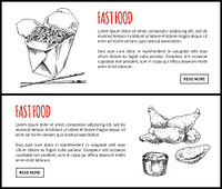 Fastfood posters noodles served with chopsticks set takeaway. Monochrome sketches outline. Fried chicken wings and sauce vector illustration. Fastfood Posters Noodles Set Vector Illustration
