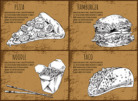 Fastfood pizza slice, noodles and hamburger, taco set. Asian takeaway meal, monochrome sketches outline. Mexican food dish posters vector illustration. Fastfood Pizza Slice Set, Vector Illustration