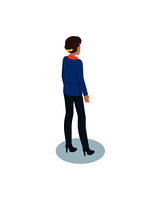 Heeled woman in formal cloth or uniform with comb-out hair isolated icon. Company director, chief or administrator vector isometric model from back view.. Businesswomen in Uniform Pictoral Isometric Icon