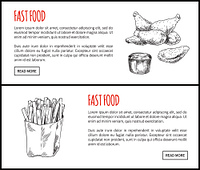 Fastfood posters set meal icons monochrome sketches outline. Chicken wings, fried served with sauce poured in bowl. Potato meat vector illustration. Fastfood Posters Set Meal Vector Illustration