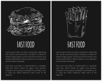 Fastfood posters set French fries in package and hamburger. Meat and fried potato, takeaway meal salad leaves monochrome sketch vector illustration. Fastfood Posters French Fries Vector Illustration