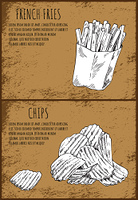 French fries fastfood posters set with chips and fried potatoes. Monochrome sketches outlines. Takeaway food fatty salted dishes vector illustration. French Fries Fastfood Posters Vector Illustration