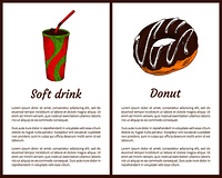 Soft drink with ice and tasty round donut banner, vector illustrations of fast food and text sample, soda with red straw and glazed pastry doughnut. Soft drink with ice and tasty round donut banner