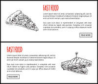 Fastfood pizza slice and sandwich. Monochrome sketches outline posters with Italian food. Meal for snack, take bite dishes set vector illustration. Fastfood Pizza Slice Sandwich Vector Illustration