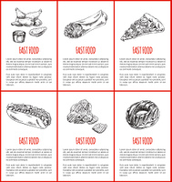 Fast food chicken and chocolate donut posters set. Italian pizza slice and hot dog fried potato chips and burrito monochrome sketches outline vector. Fast Food Chicken and Donut Vector Illustration