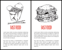 Fastfood set hamburger and noodles with chopsticks. Ham with buns, vegetables and tomatoes. Monochrome sketches outline icons vector illustration. Fastfood Set Hamburger Noodles Vector Illustration