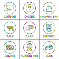 Coupon and shopping bag posters set with headlines. Trolley online services supporting clients, e-money secure orders, e-money vector illustration. Coupon and shopping bag set vector illustration