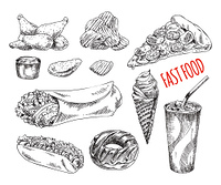 Fast food illustration for promo. Chicken nuggets and dip, chips and ice drink, pizza and hot dog, ice cream and donut monochrome sketch icons set vector. Fast Food Monochrome Illustration Set for Promo