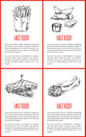 Fast food French fries and fried chicken wings posters with text set. Sandwich with roasted bread Mexican burrito monochrome sketches outline vector. Fast Food French Fries Set Vector Illustration