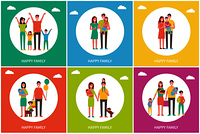 Happy family of parents and children with dog posters set. Mother, father next to kids, holding newborn baby or balloons cartoon vector illustrations.. Happy Family of Parents and Children with Dog