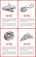 Fast food donut and sandwich set of posters. Pizza slice with cheese and sausages on top. Takeaway meal monochrome sketch outline with text vector. Fast Food Donut Sandwich Set Vector Illustration
