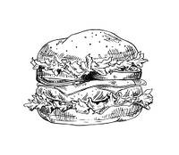 Hand drawn hamburger vector monochrome illustration. Fast food badge sketch style for brochures and banner, restaurant menu and cafe cover template. Hand drawn hamburger vector monochrome sketch