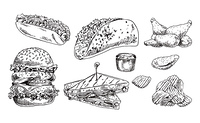 Fast food set hand drawn vector monochrome illustration. Hot dog and tacos, chips and chicken wings, double burger and sandwich sketch style template. Fast food set hand drawn vector monochrome sketch