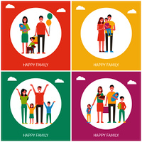 Happy family posters text set with parents and kids. Mother father and children having fun. Childhood and good emotions of people isolated on vector. Happy Family Posters Text Set Vector Illustration
