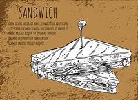 Sandwich sketch on fast food banner with text. Snack of lettuce leaves, ripe tomatoes, tasty ham and bread slices, appetizer vector illustration.. Sandwich Sketch on Fast Food Banner with Text