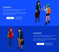 Students cartoon characters web posters vector illustrations with text on blue. Landing page with college or high school people in flat style. Students Cartoon Characters Posters Vector Set