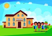 Happy children holding hands in front of their three storey school building. Let s get back to study cartoon poster vector Illustration. Happy Children Holding Hands in Front of School