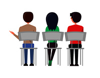 Man and woman sitting on chairs and discussing something back view. Business meeting of employees, people at briefing vector illustration managers set. Man Woman Sitting on Chairs, Discussing Back View