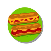 Pair of delicious hot-dogs, vector illustration isolated on bright backdrop, ketchup and mustard stripes, green plate, tasty sandwiches, hot-dog buns.. Pair of Delicious Hot-dogs, Vector Illustration