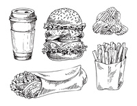 Fast food set hand drawn vector monochrome illustration. Double burger and chips, french fries and doner kebab, coffee paper cup sketch icons for menu. Fast food set hand drawn vector monochrome sketch