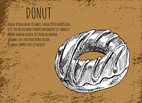 Donut poster with glazed chocolate dessert and topping. Monochrome sketch outline and editable text sample, takeaway fast food vector illustration. Donut Poster with Dessert Vector Illustration