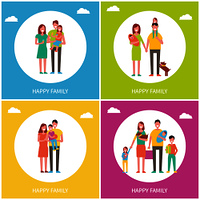 Happy family set of posters. People with kids parents with child and pet. Happiness of parents and children mother and father with newborn babbies vector. Happy Family Set of Posters Vector Illustration