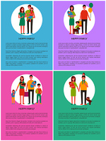 Families set of posters mother, father daughter and son positive parents and children. Kids with toys and pets, happy childhood and togetherness vector. Families Set of Posters Mother Father Daughter Son