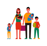 Family happy day for people. Mother holding pet father with newborn child and kids beside parents. Girl with bear toy boy with present gift vector. Family Happy Day for People Vector Illustration