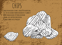 Chips fried potatoes poster with monochrome sketch outline. Heap of fast food, junk meals usually served to beer, text sample vector illustration. Chips Fried Potatoes Poster Vector Illustration