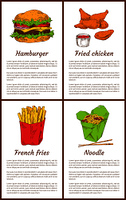 Hamburger and french fries fast food set. Fried chicken served with sauce in bowl, noodles and chopsticks, asian traditional meal vector illustration. Hamburger and French Fries Set Vector Illustration