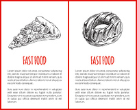 Fast food Italian pizza slice with cheese and tomatoes posters with text sample set. Sweet donut monochrome sketch outline takeaway meal dish vector. Fast Food Pizza Posters Set Vector Illustration