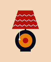 Table lampshade of modern style with curved lines pattern and rounded stand shape with object turning it on, vector illustration isolated flat style icon. Table Lampshade Modern Style Vector Illustration
