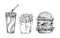 Fast food set hand drawn vector monochrome illustration. Cola with ice and tube in paper cup, serving of french fries and double burger sketches. Fast food set hand drawn vector monochrome sketch
