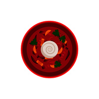 Borsch traditional dish in bowl served with sour creme. Food made of vegetables and meat. Carrot and beetroots natural ingredients vector illustration. Borsch Traditional Dish Bowl Vector Illustration