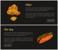 Hot dog and chips fast food set. Fried potatoes slices with salt. Bun and sausage topped with mustard sauce, sausage and vegetable vector illustration. Hot Dog and Chips Fast Food Vector Illustration