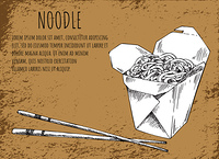 Noodles asian food poster with monochrome sketch outline and informational text. Fast food in package served with chopsticks, vector illustration. Noodles Asian Food Poster Vector Illustration