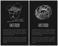 Fast food donut and noodles posters with text sample set. Package with Japanese Chinese food with chopsticks monochrome sketch outline icon vector. Fast Food Donut and Noodles Vector Illustration