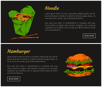 Hamburger and noodles fast food set. American and Japanese cuisine. Meal served with chopsticks, burger with vegetables and meat vector illustration. Hamburger and Noodles Set Vector Illustration