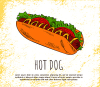 Hot dog icon isolated on bright background banner, vector illustration of delicious bun with sausage smeared with mustard, fresh salad and tomatoes. Hot Dog Icon Isolated on Bright Background Banner