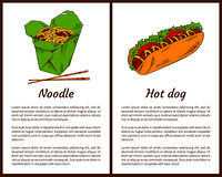 Noodle served with chopsticks and hot-dog with sausage, tomatoes and salad leaves. Asian meals fastfood services set vector illustration. Take away food. Noodle and Hot Dog Take Away Food Vector Posters